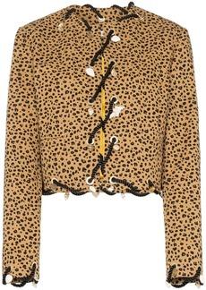Rejina Pyo leopard print shell charm collarless jacket
