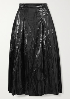 Rejina Pyo Malia Belted Pleated Crinkled Coated Satin-twill Midi Skirt
