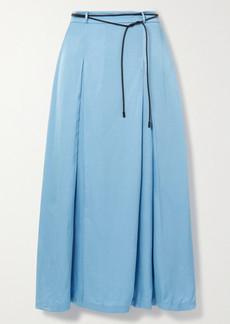 Rejina Pyo Malia Belted Pleated Satin-twill Midi Skirt