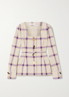 Rejina Pyo Martina Belted Checked Linen Jacket