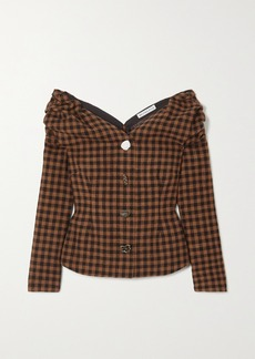 Rejina Pyo Miriam Off-the-shoulder Button-embellished Checked Wool And Cotton-blend Blouse