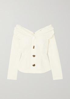Rejina Pyo Miriam Off-the-shoulder Button-embellished Cotton-poplin Blouse
