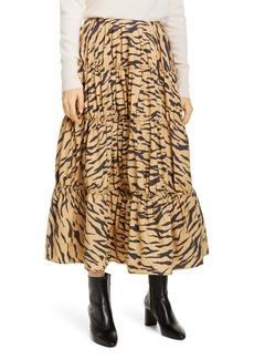 Rejina Pyo Eve Tiger Print Cotton Midi Skirt