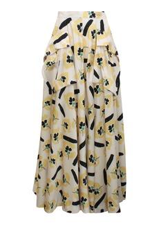 Rejina Pyo Lena Pocket-Detailed Floral Satin Twill Full Maxi Skirt