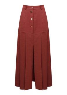 Rejina Pyo Miller Button-Detailed Pleated Linen-Blend Midi Skirt