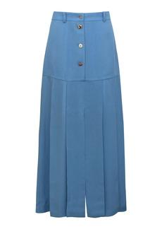 Rejina Pyo Miller Button-Detailed Pleated Viscose Midi Skirt