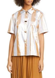Rejina Pyo Nico Metallic Stripe Short Sleeve Button-Up Shirt