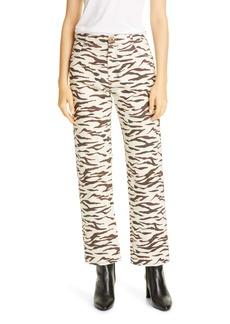 Rejina Pyo Sofia Tiger Stripe Ankle Straight Leg Jeans