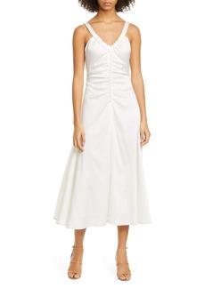 Rejina Pyo Toni Ruched Hammered Silk Midi Dress