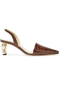 Rejina Pyo Woman Conie Croc-effect Leather Slingback Pumps Brown