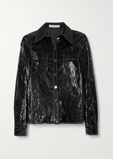 Rejina Pyo Remi Topstitched Crinkled Coated-shell Shirt