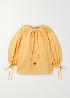 Rejina Pyo Scout Tie-detailed Organic Cotton-poplin Blouse