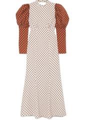 Rejina Pyo Sibylle Draped Two-tone Polka-dot Crepe Midi Dress