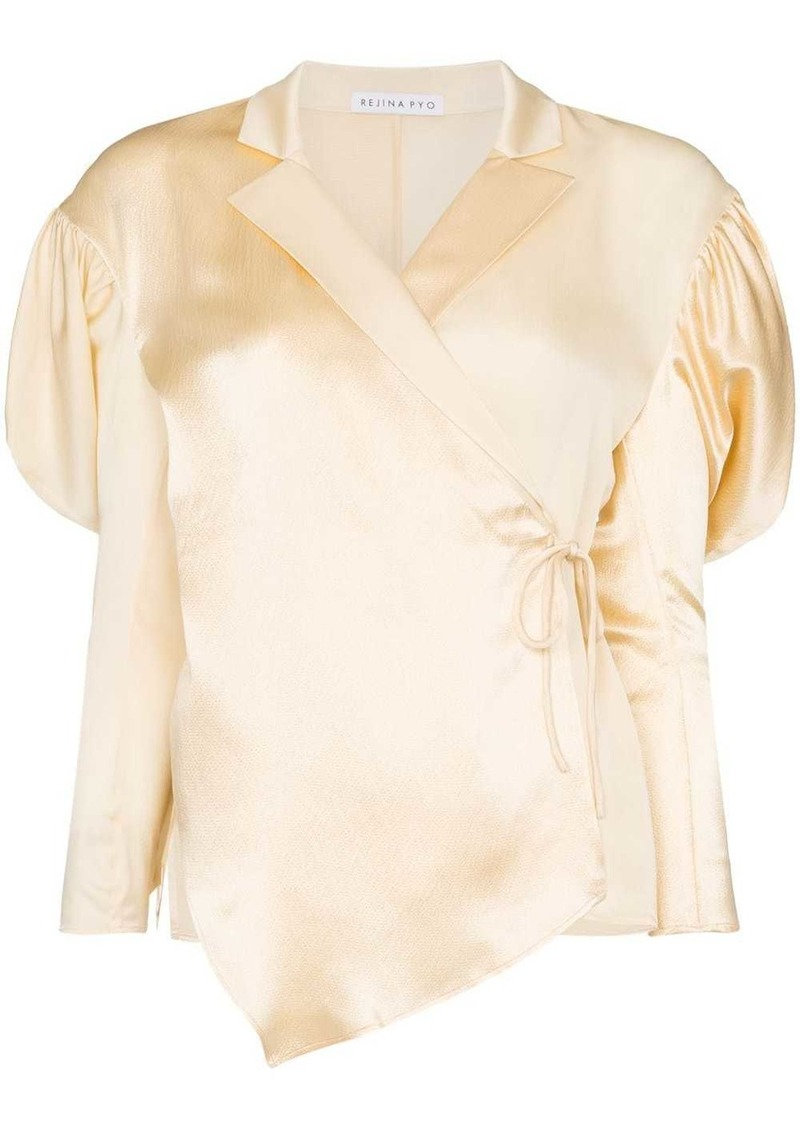 wrap-style puff-shoulder blouse
