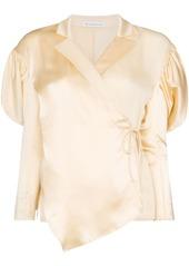 Rejina Pyo wrap-style puff-shoulder blouse
