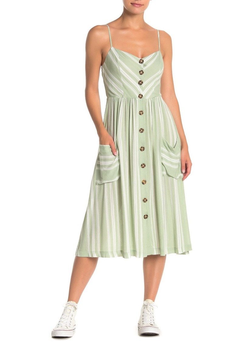 re:named Annie Striped Button Front Midi Dress