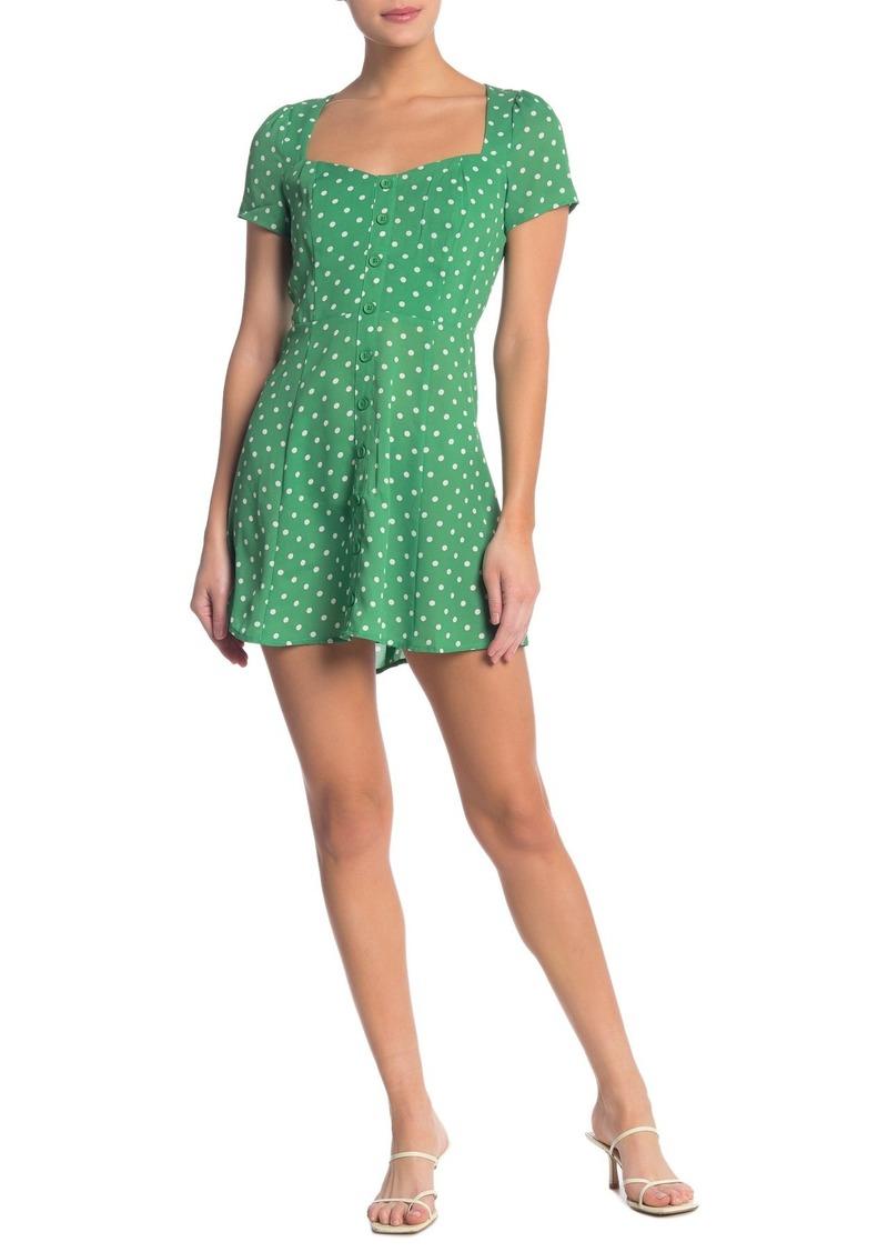 re:named Mina Short Sleeve Polka Dot Dress