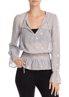 Re:Named Estelle Star Print Chiffon Top