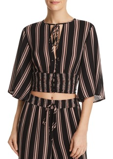 Re:Named Quinn Striped Button-Front Crop Top