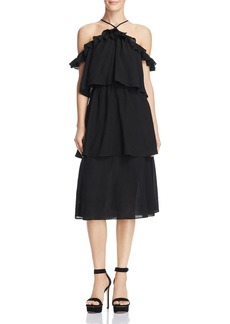 Re:Named Tiered Ruffled Cold-Shoulder Midi Dress - 100% Exclusive