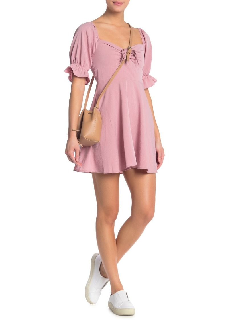 re:named Tie Front Elbow Length Puff Sleeve Dress