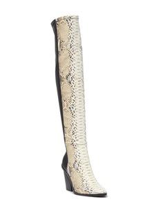 Report Janelle Snake-Embossed Knee-High Boot