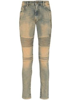 Represent biker-style skinny jeans