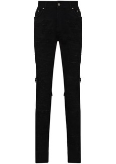 Represent distressed-finish skinny jeans