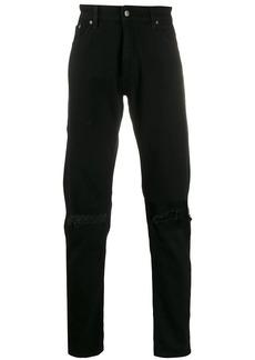Represent distressed straight leg jeans