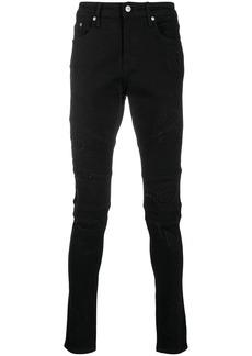 Represent skinny biker jeans