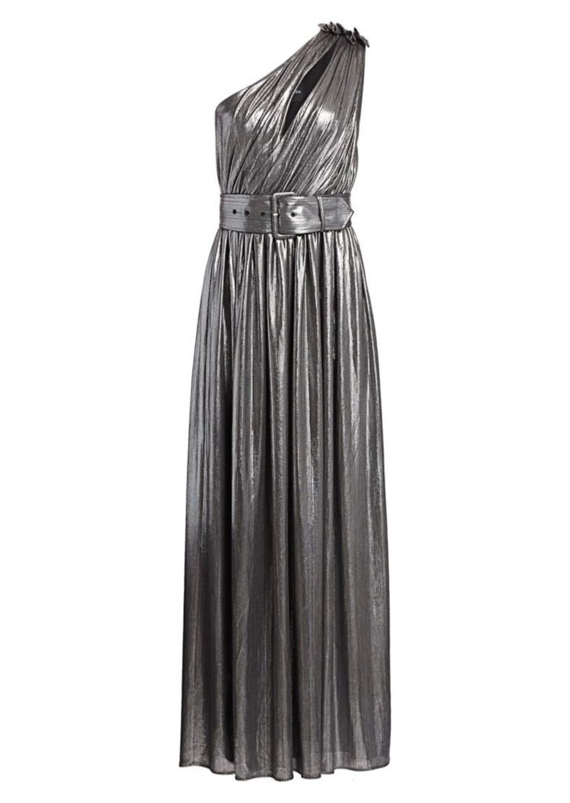 Retrofête Andrea Belted One-Shoulder Metallic Maxi Dress