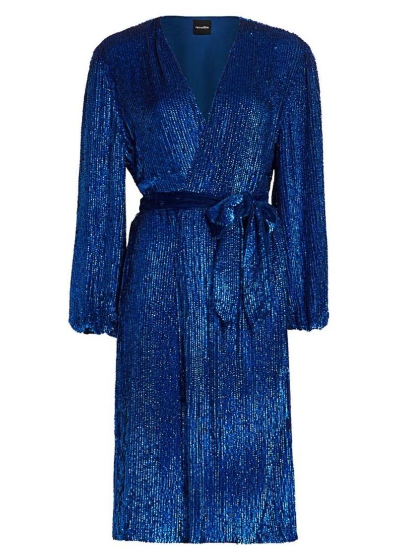 Retrofête Audrey Sequin Wrap Dress