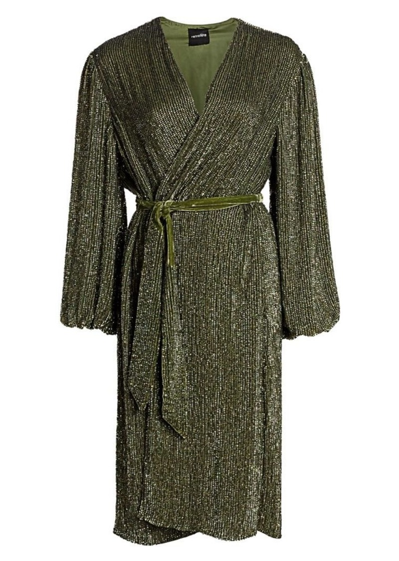 Retrofête Audrey Sequin Wrap Dress