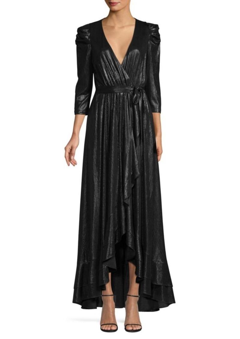 Retrofête Flora Lamé High-Low Wrap Dress