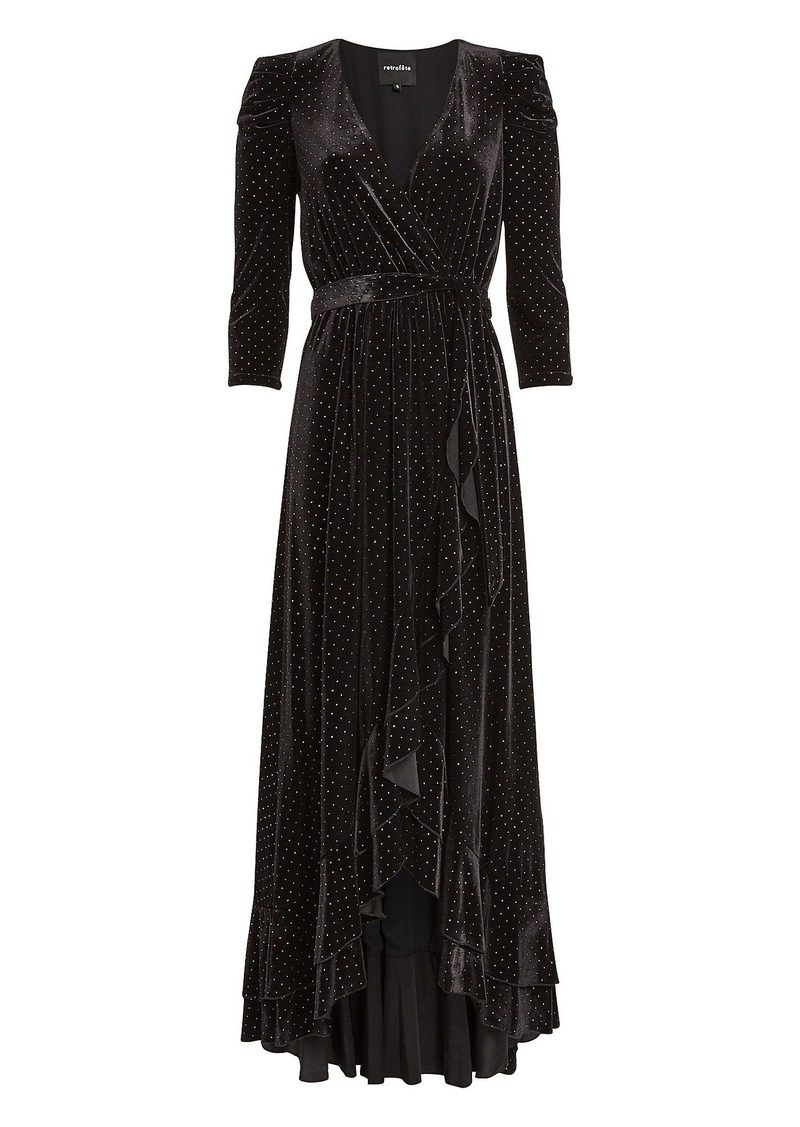 Retrofête Flora Rhinestone Velvet Wrap Dress