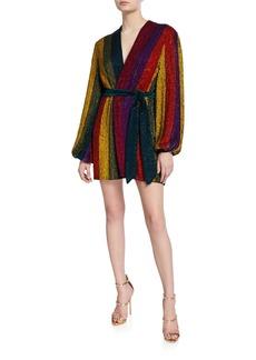 Retrofête Gabrielle Sequin Rainbow-Striped Robe Dress