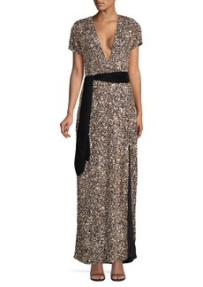 Retrofête Helena Sequined Belted Gown