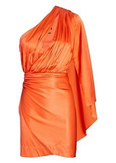 Retrofête Mae Silk One-Shoulder Mini Dress