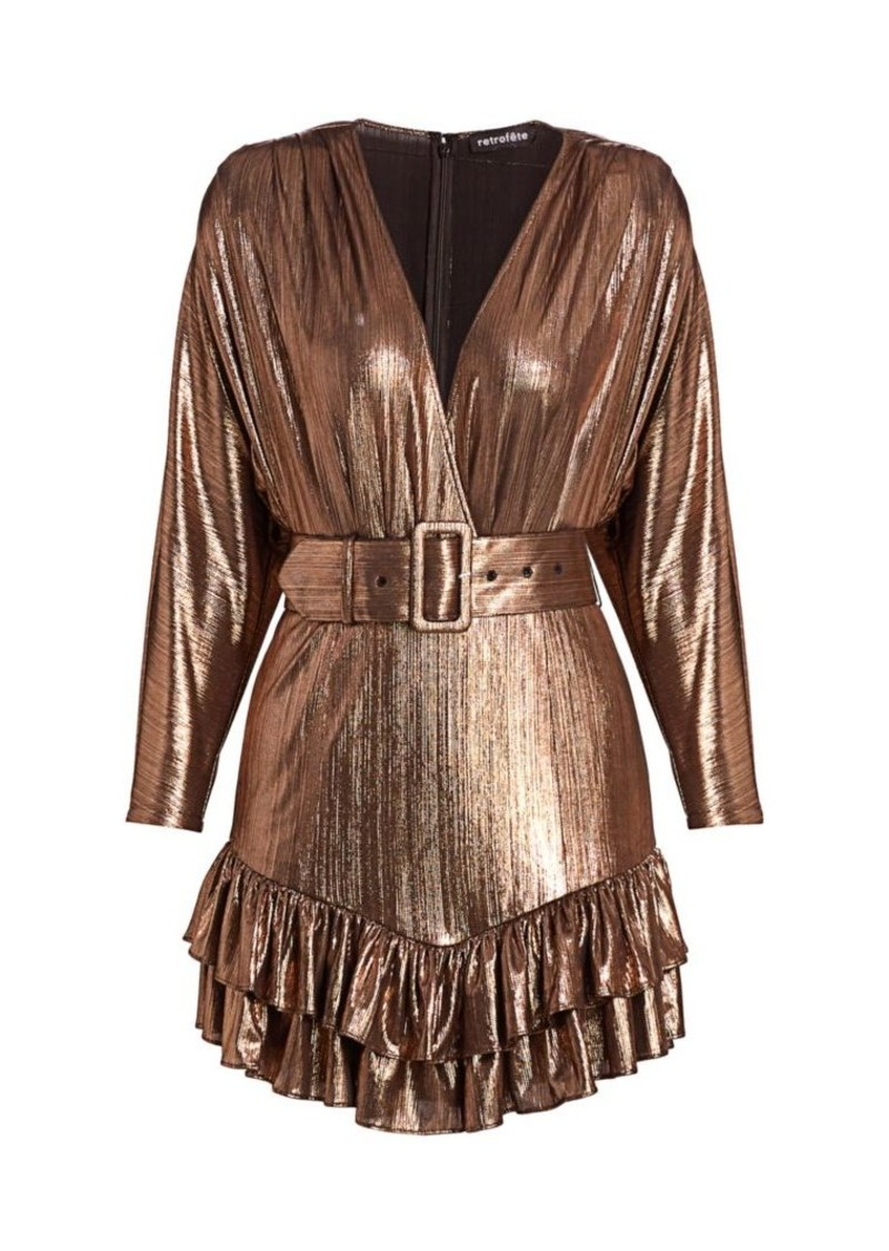 Retrofête Maureen Metallic Faux-Wrap Mini Dress