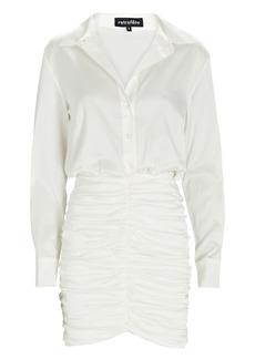 Retrofête Natalia Ruched Satin Shirt Dress