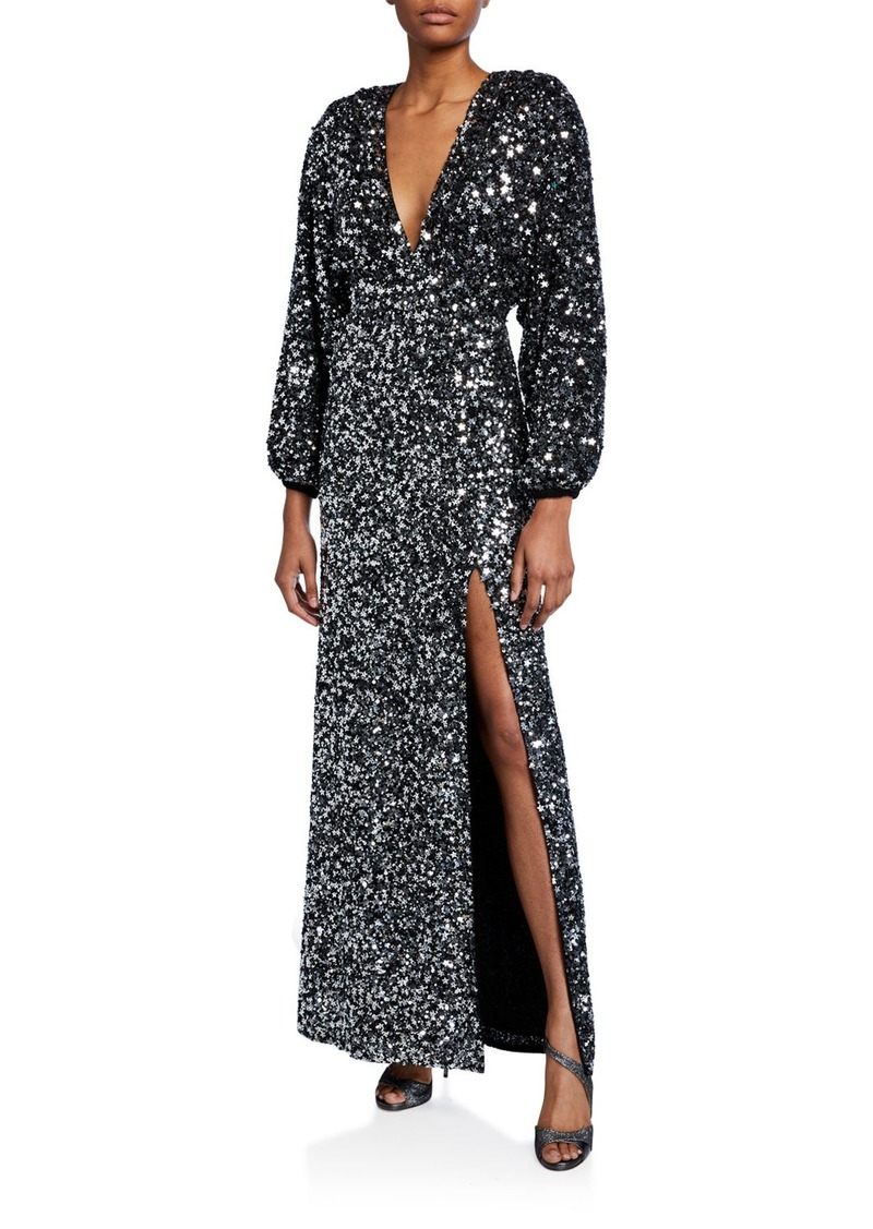 Retrofête Retrofete Camille Sequined Blouson-Sleeve Slit Dress