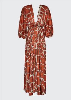 Retrofête Retrofete Lila Giraffe-Print Cocktail Dress