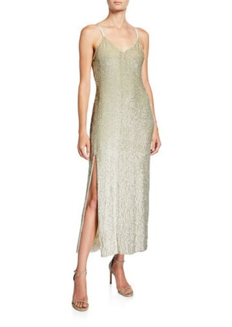 Retrofête Retrofete Rebecca Sequined V-Neck Slit Cocktail Dress