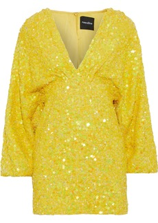 Retrofête Woman Aubrielle Sequined Chiffon Mini Dress Yellow