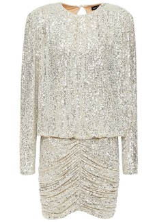Retrofête Woman Flynn Ruched Sequined Tulle Mini Dress Silver