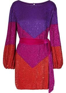 Retrofête Woman Grace Velvet-trimmed Sequined Chiffon Mini Dress Multicolor