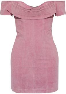 Retrofête Woman Hadley Off-the-shoulder Pleated Textured-suede Mini Dress Bubblegum