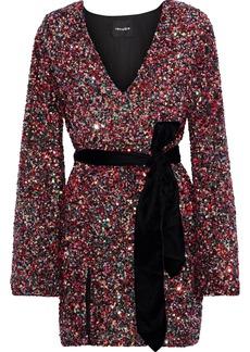 Retrofête Woman Hayden Belted Sequined Crepe Mini Dress Crimson