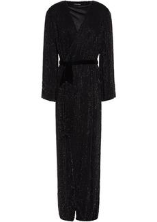 Retrofête Woman Margarita Velvet-trimmed Sequined Chiffon Maxi Wrap Dress Black