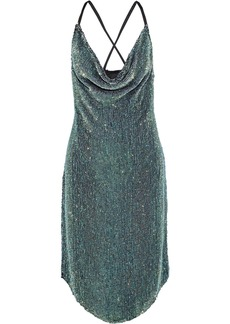 Retrofête Woman Melissa Draped Sequined Chiffon Dress Leaf Green